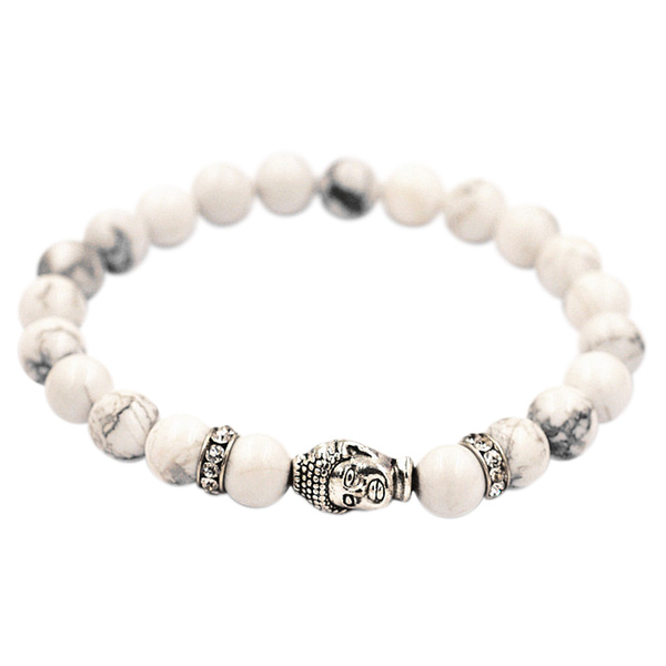 Buddha armbånd - Lykkearmbånd - Hvid Turkis