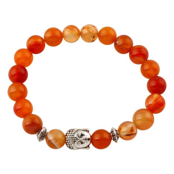 Image of   Buddha armbånd - Lykkearmbånd - Orange agat