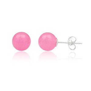 Ørestikker med Pink Jade - Ø 8mm - pr sæt