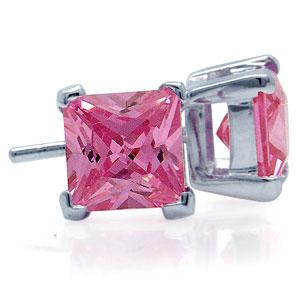 Ørestikker med Pink Zirkonia - Ø8mm - pr par