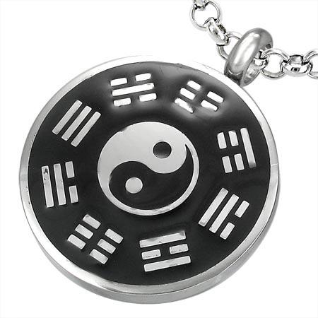 Image of   Vedhæng med Yin Yang i stål - 27mm - u/kæde