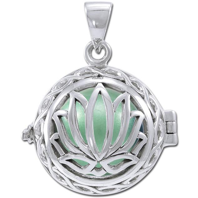 Image of   Engle kalder / Engleklokke med Lotus blomst - u/kæde